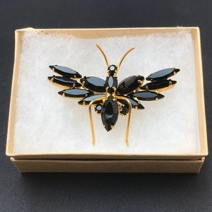 Vintage black insect pin